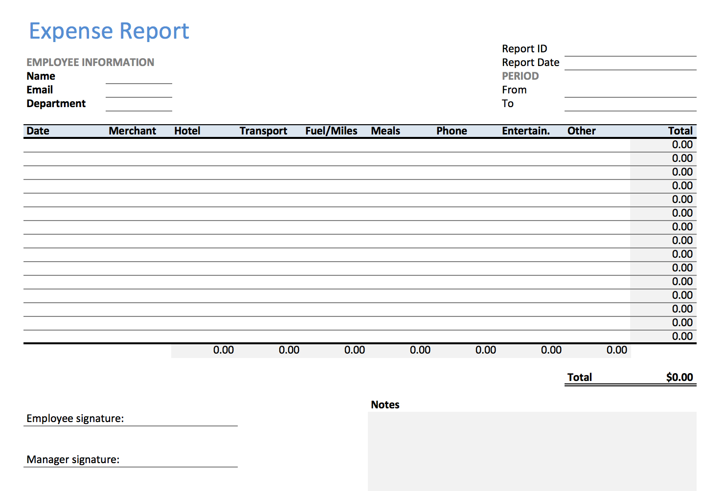 Excel Expense Report  Example Expense Report